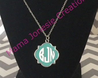 Monogram Turquoise & Sliver Necklace 20 Inch Chain