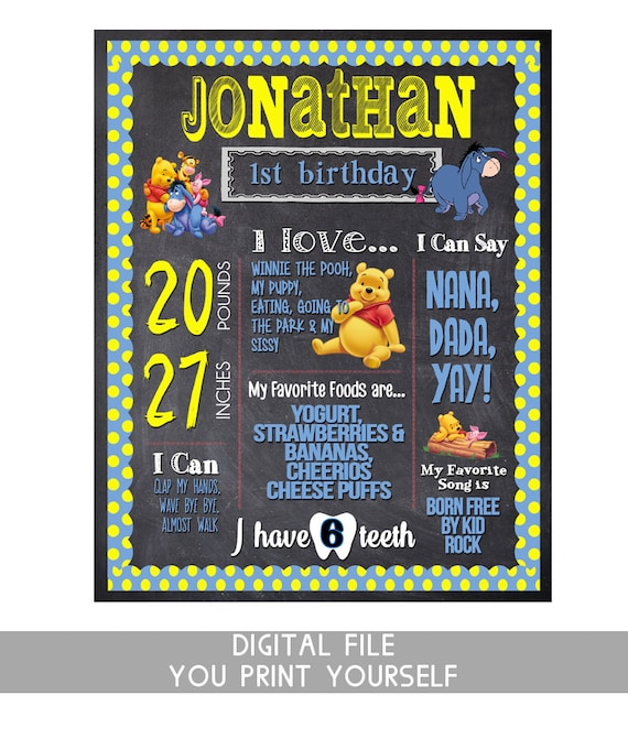Well known first birthday chalkboard winnie the pooh birthday girl or HB48