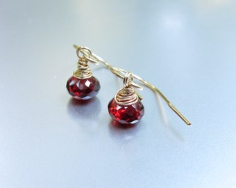 Wire Wrapped Red Garnet Earrings-Red Garnet Jewelry Gift-Red Gemstone Jewelry-January Birthstone Gif-Birthstone Jewelry-Gold-Rose Gold