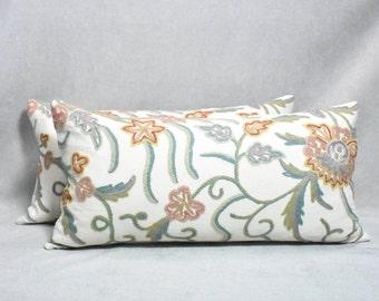 Crewel Lumbar Pillow