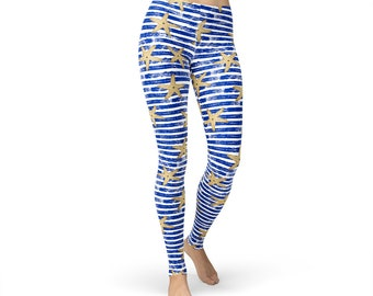 Starfish Blue Striped Leggings