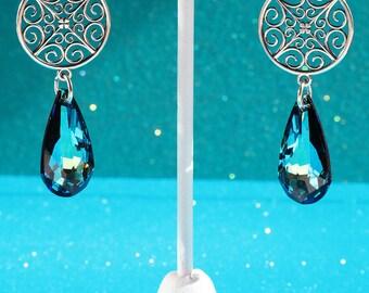 Elegant Sterling Silver Filigree and Swarovski Crystal Earrings