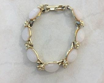 White Moonglow Vintage Gold Tone Lucite Bracelet