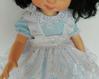"Disney Animator  16"" doll dress  in blue polka dot with apron fabric vintage  dolls clothes  Special occasion Art doll"