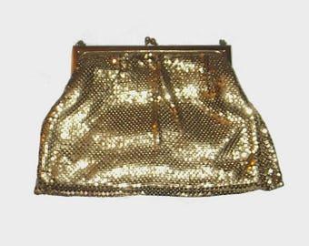 1950s purse / vintage 50s handbag / Whiting & Davis / Gold Nugget Chainmail Evening Purse