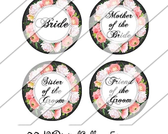 Floral Wedding Digital Collage Sheet, One Inch Circles, Instant Download, Mother of the Bride, Image, Bride, Flower Girl, Maid of Honor