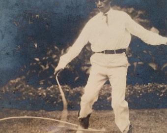 Trick Roping Wild West Cowboy Vintage Photo