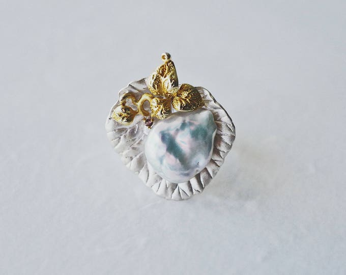 Lotus leaf and dew, irregular pearl, 925 silver, handmade, open ring