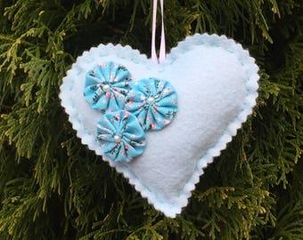 Heart Sachet Pale Aqua Felt with Lavender Scent