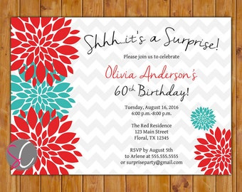 Surprise Birthday Party Celebration Invitation Red Teal Floral Burst  50th 60th Milestone Adult Birthday 5x7 Digital JPG DIY Printable (168)