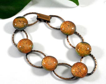 Copper Link Bracelet with Golden Orange Dichroic Glass, 7 Inches, Gift for Woman