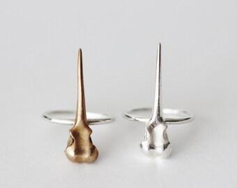 Hummingbird Skull Ring Sterling Silver