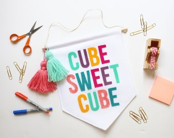 Cube Sweet Cube Large Wall Hanging . Wall Banner . Wall Flag . Office Decor (Made to Order)