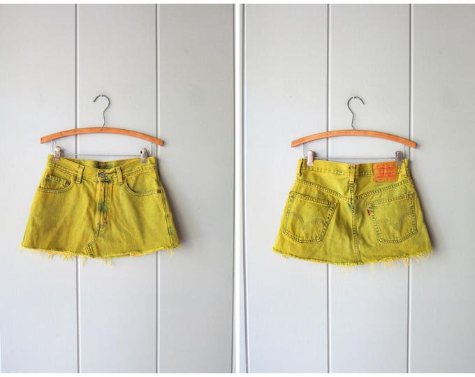 Levis Jean Skirt Cut Off Denim Skirt Mini 90s Denim Over Dyed Yellow Green Jean Skirt Pigment Dyed Denim Skirt Vintage 90s Womens Medium