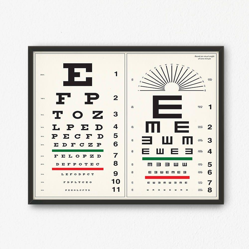 Eye chart print digital download optometrist gift vintage zoom geenschuldenfo Image collections