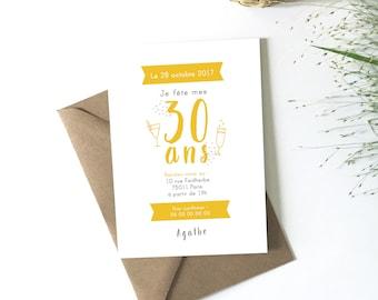 Carte invitation anniversaire adulte, à télécharger, à personnaliser, fête anniversaire, fichier PDF, petipeu, champagne, trente ans