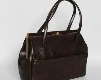 Authentic vintage 1950s handbag, shoulder bag, Kelly bag, Made in England, faux leather