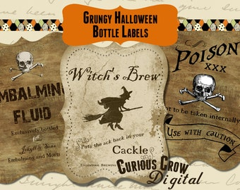 Grungy Halloween Bottle Labels Digital Collage Sheet  -  INSTANT Printable Download