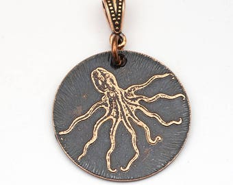 Octopus pendant, round flat etched copper jewelry, sea creature, 28mm