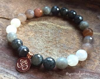 Ommmbre | Labradorite, Sunstone, Moonstone Ombre + Rose Gold Vermeil Om | Spiritual Junkies | Stackable Mala Bracelet | Yoga + Meditation