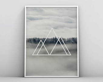 Abstract Geometric Printable, Geometric Landscape Print, Wilderness Printable, Triangle, Poster, Wall Art, Grey, Gray, Geometric Forest Art