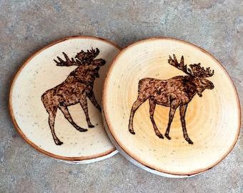 Moose Coaster, Woodburned Moose Coaster, Maine Moose Coaster, Made in Maine Coaster, Woodburned Moose, Birch Coaster, Wood Burned