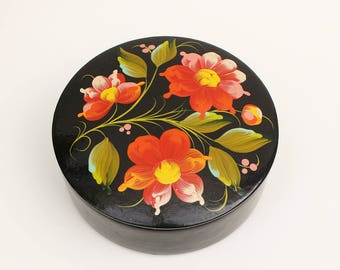 Vintage Round Paper Mache Box with Lid Black Lacquer and Folk Art Hand Painted Flowers