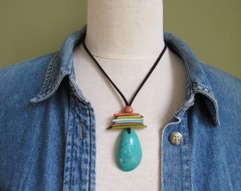 Mother's Day Gift, Aqua Tagua Necklace, Ecofriendly Necklace, Tagua Nut Necklace, Pendant Necklace, Boho Necklace, Boho Jewelry