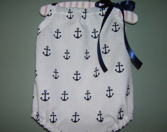 Girls Nautical Bubble Romper, Anchor, Beach Romper, Summer Romper, Baby Shower Gift, Nautical Birthday Party, Coming Home Outfit, Summer