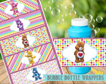 Care Bears Bubble Bottle Labels-Care Bears Birthday Party Printable-Digital-Instant Download