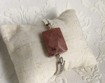 Faceted rhodonite stone spoon handle bracelet with magnetic clasp