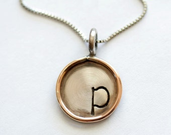 5/8 Inch Distressed Two-tone Custom Pendants with Necklace - Sterling Disc with Gold Filled Rim
