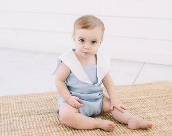 Baby Boy Summer Sailor Suit/ Classic Sailor Romper/ Blue Linen SailorRomper/ Handmade Boy's Sunsuit/ Boy's Christening Outfit