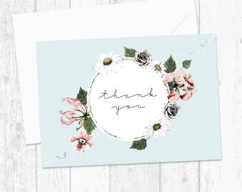 Sweet Vintage Floral Thank You Cards - Wedding Thank You Card - Thank You Postcards - Pack of 10 - Cute Thank You Pink Turquoise