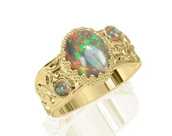 3-Stein Natur australischen Opalring in 14K oder 18K Gold 2.15TCW SKU: R2224