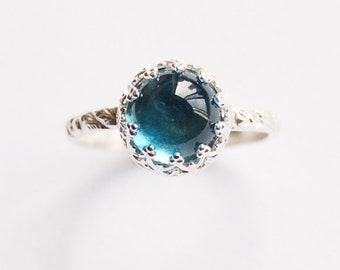 Topaz Cabochon Ring With Silver Gallery Setting In Your Size