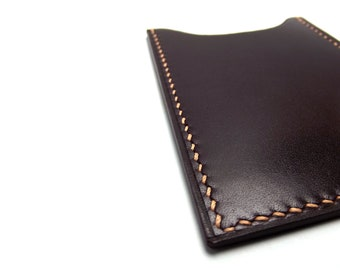 Chic Oxblood Leather Card Holder, Redwood, Naturally tanned Leather Card Case, Mahogany, Leather for Men, Mens Gift, Gift for Him