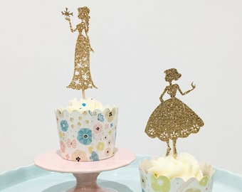 12ct Anna and Elsa cupcake toppers, 12ct disney princess cupcake topper, disney cupcake toppers, Frozen cupcake topper,