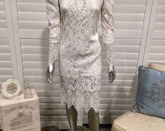 Vintage Jessica McClintock Sz 8 Lace Long Sleeve Tea Length Wedding Dress