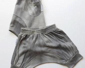 SALE, Boys Girls Harem Shorts, Toddler Harem Shorts, Kids Harem Shorts,Hipster Toddlers Clothing, Khaki Stone Washed Cotton - PetitWild