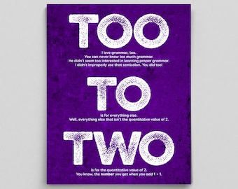 Grammar Print Too To Two Usage Definition English Print Gift Teacher Gifts for Teachers Typographic Print English Gifts Funny Editor Writer