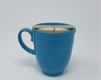 Day at the Spa Scented Soy Wax Candle in Sweet Blue Repurposed Coffee Cup
