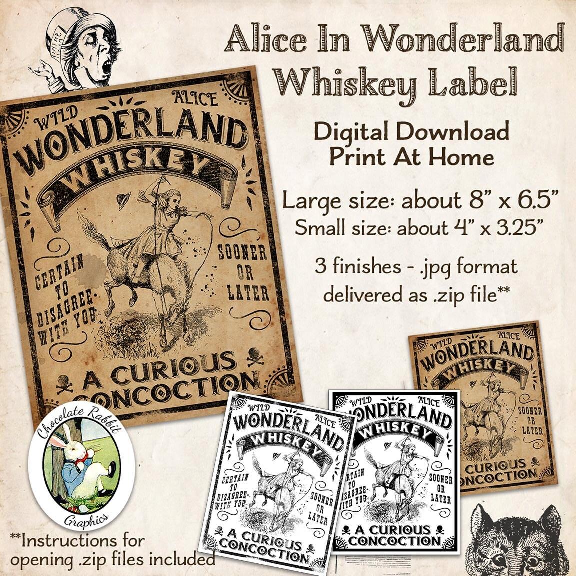 Alice In Wonderland Whiskey Label Digital Download Vintage