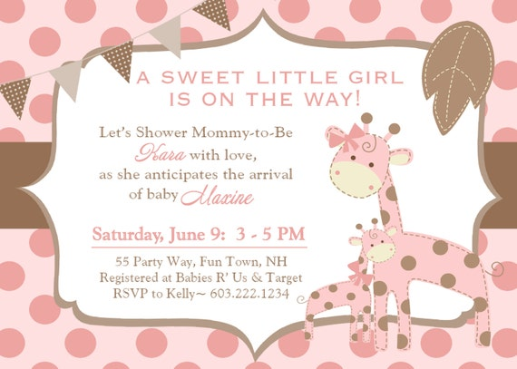 Giraffe Baby Shower Invitation Polka Dots Giraffe Baby