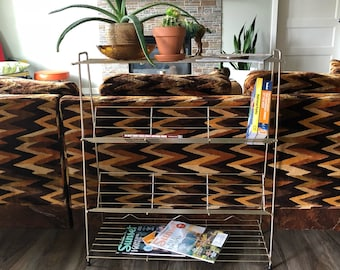 Mid Century Gold Metal Wire Plant Stand and Book Shelf