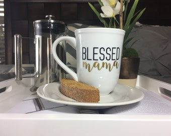 Blessed Mama coffee mug, Birthday gift for mom, Baby shower gifts for new mom, gift for friend, personalized gift for wife,