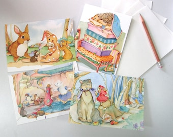 Fairy Tale greeting cards children's books four pack with Little red riding hood, Snow White, Princess and the pea and The Velveteen Rabbit