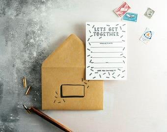 Let's Get Together Letterpress Invitation Set of 10 Invites