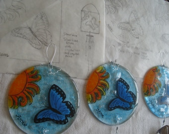 Design Your Own Butterfly Cremation Memorial Wind Chime Hand Painted Glass 5 inch Display Pet Memorials