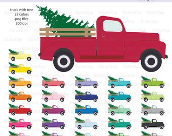 Vintage Truck with Tree Clipart, PNG Digital Clipart - Instant download